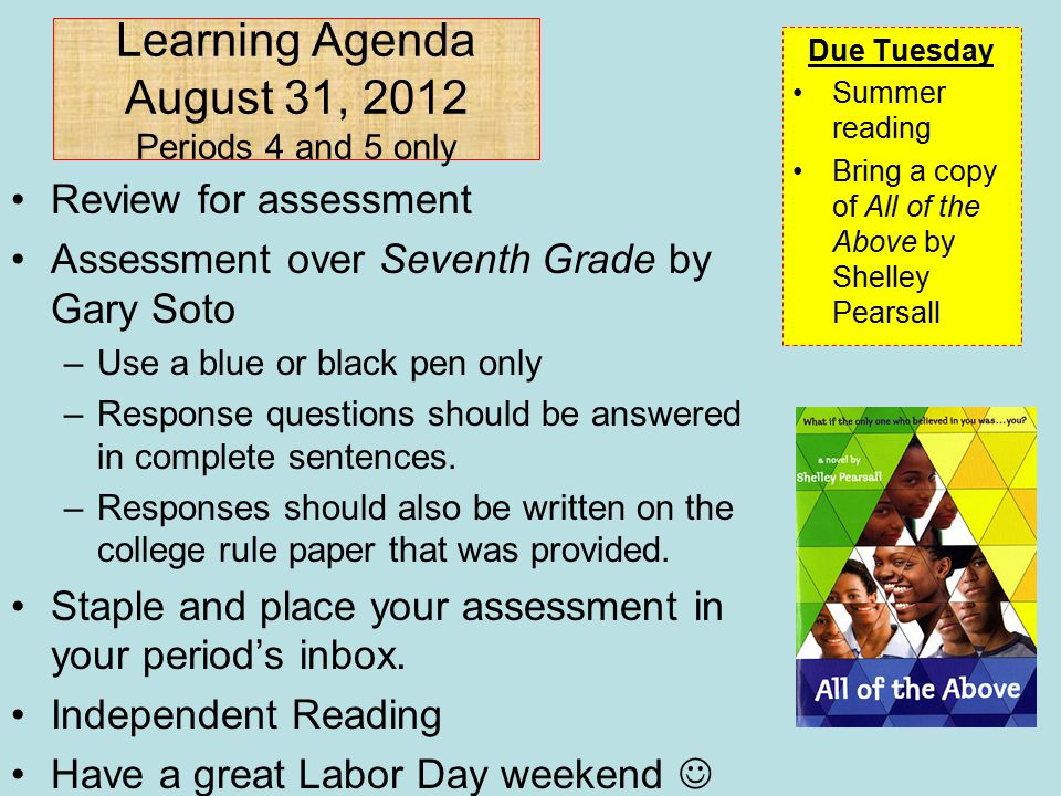 Learning Agenda August 31, 2012 Periods 4 and 5 only