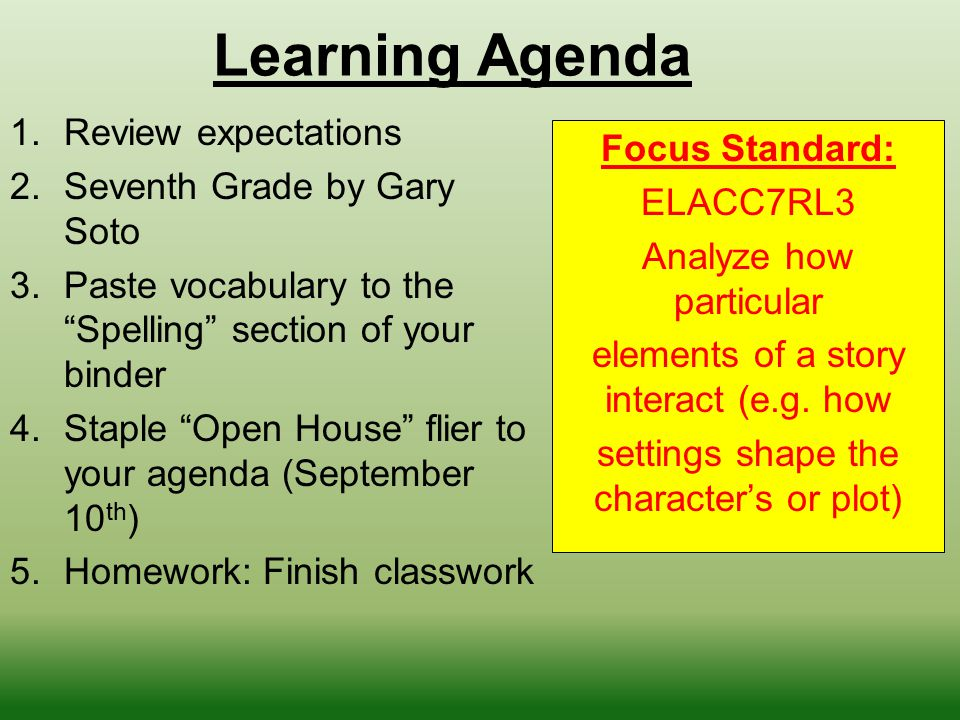Learning Agenda Review expectations