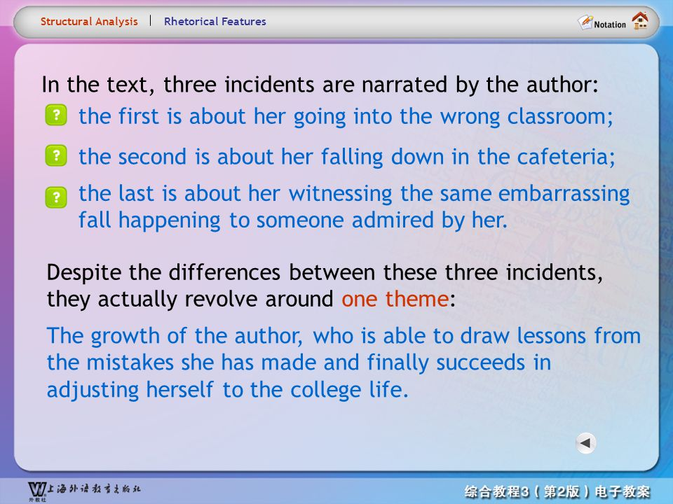 In the text, three incidents are narrated by the author:
