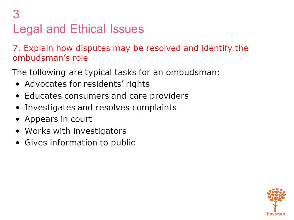 7. Explain how disputes may be resolved and identify the ombudsman's role