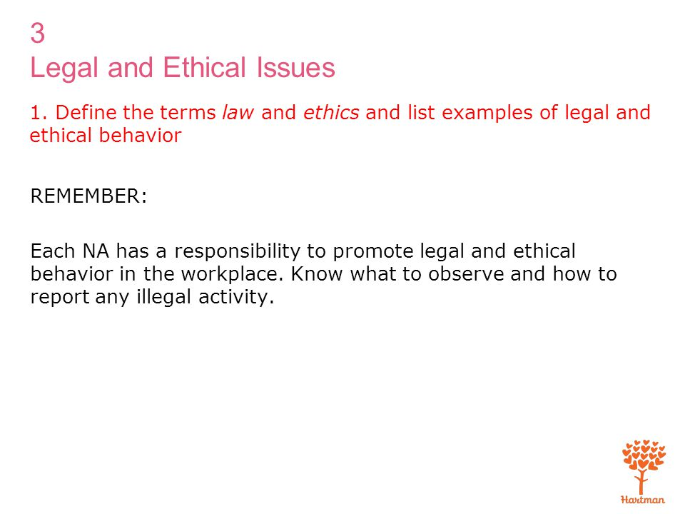 1. Define the terms law and ethics and list examples of legal and ethical behavior
