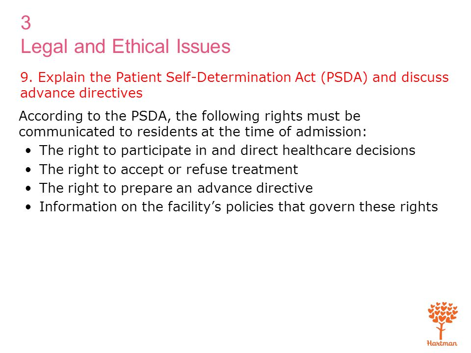 9. Explain the Patient Self-Determination Act (PSDA) and discuss advance directives