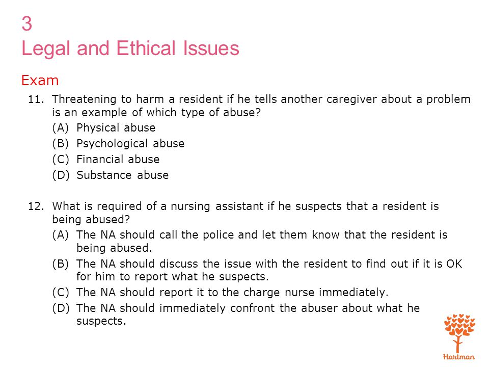 Exam Threatening to harm a resident if he tells another caregiver about a problem is an example of which type of abuse