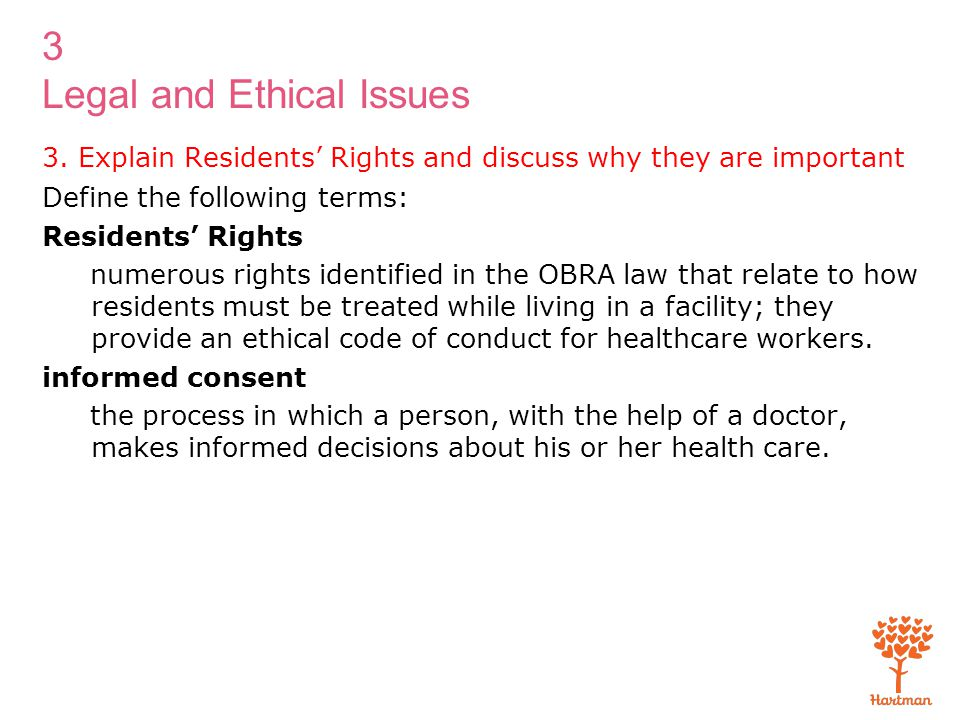 3. Explain Residents' Rights and discuss why they are important