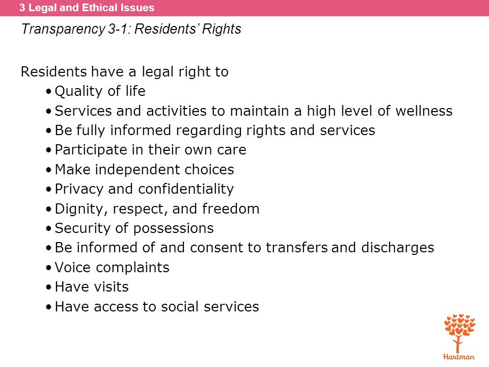 Transparency 3-1: Residents' Rights