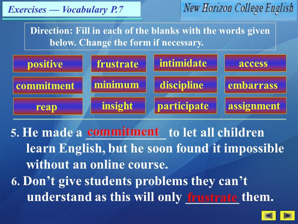 Exercises — Vocabulary P.7