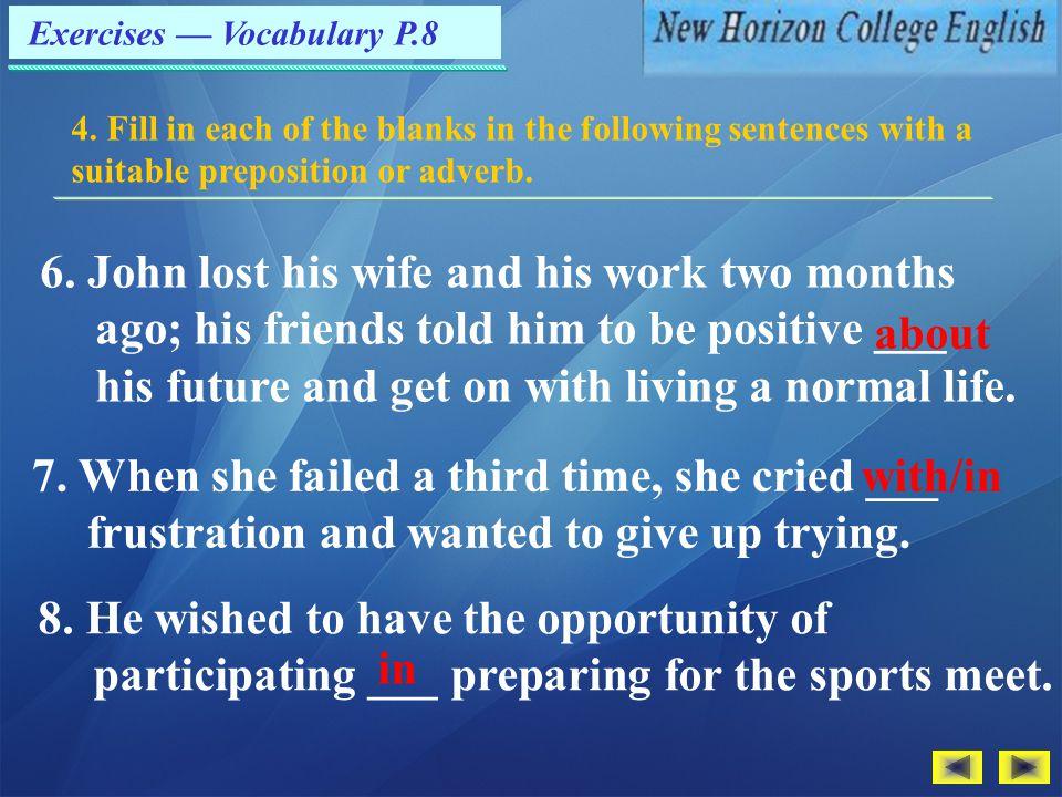 Exercises — Vocabulary P.8