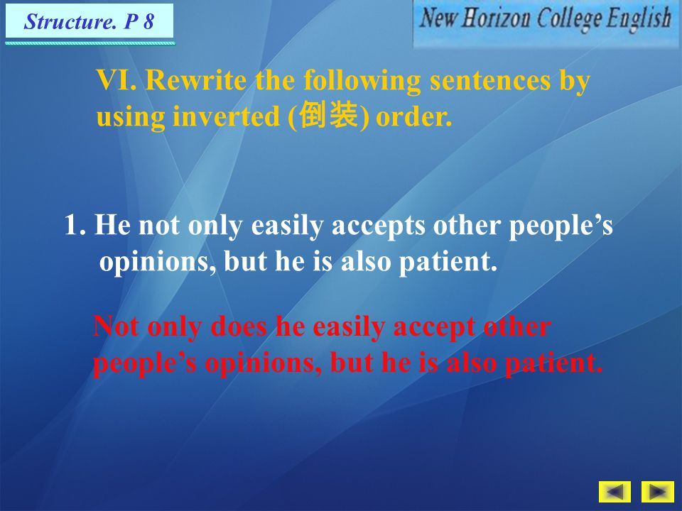 VI. Rewrite the following sentences by using inverted (倒装) order.