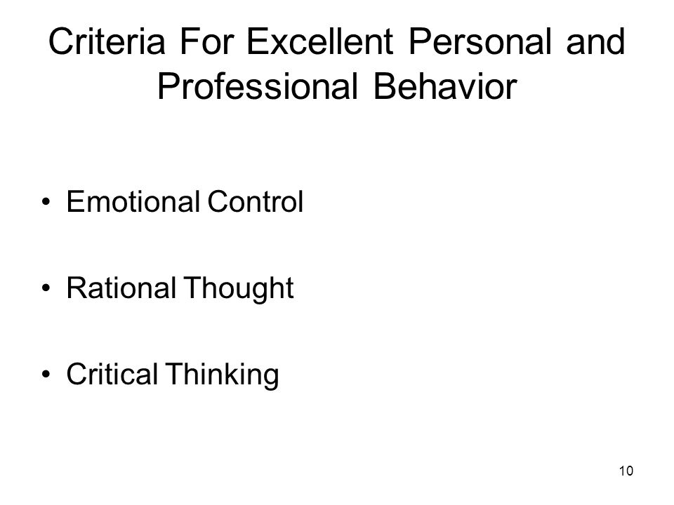 Criteria For Excellent Personal and Professional Behavior