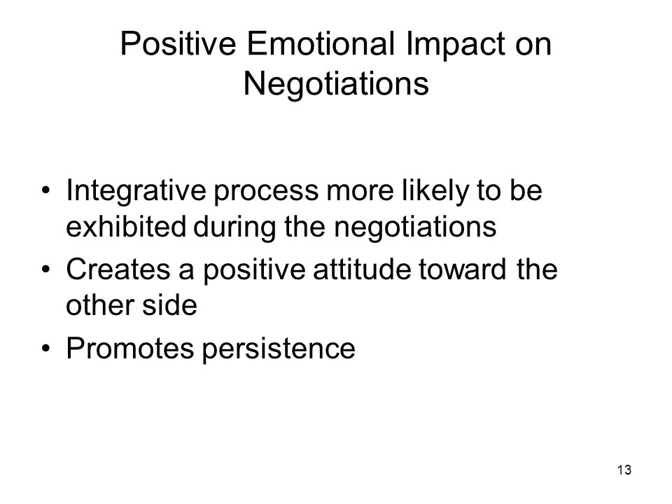 Positive Emotional Impact on Negotiations