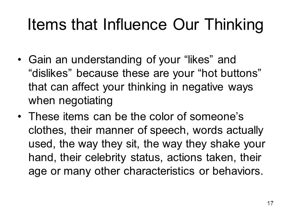 Items that Influence Our Thinking