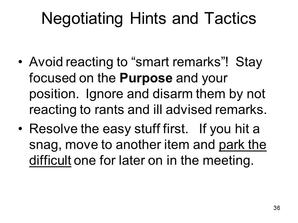 Negotiating Hints and Tactics