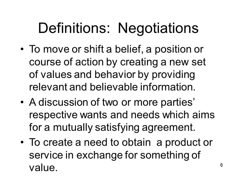 Definitions: Negotiations