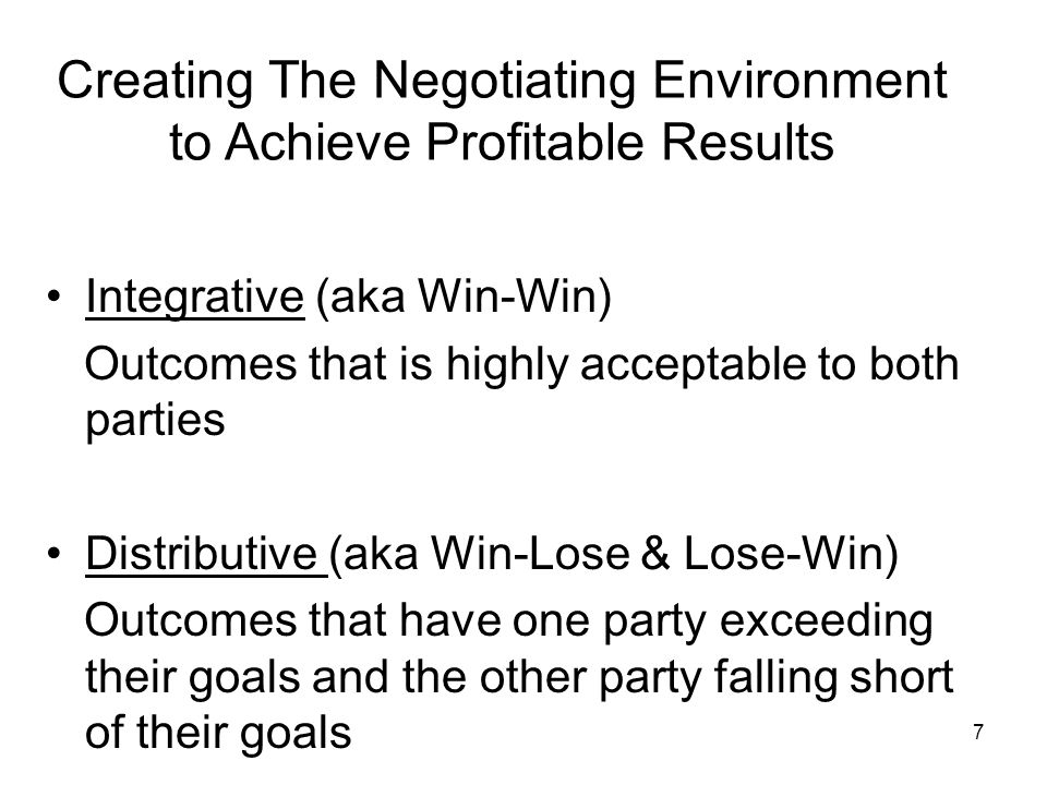 Creating The Negotiating Environment to Achieve Profitable Results