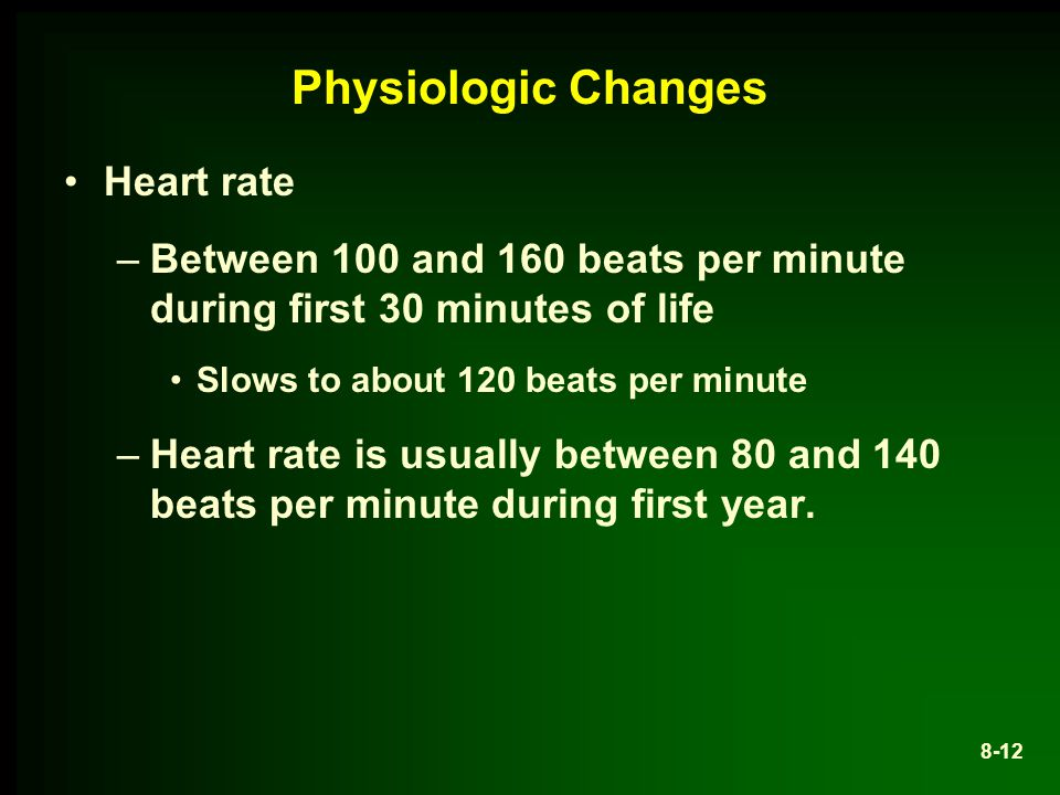 Physiologic Changes Heart rate