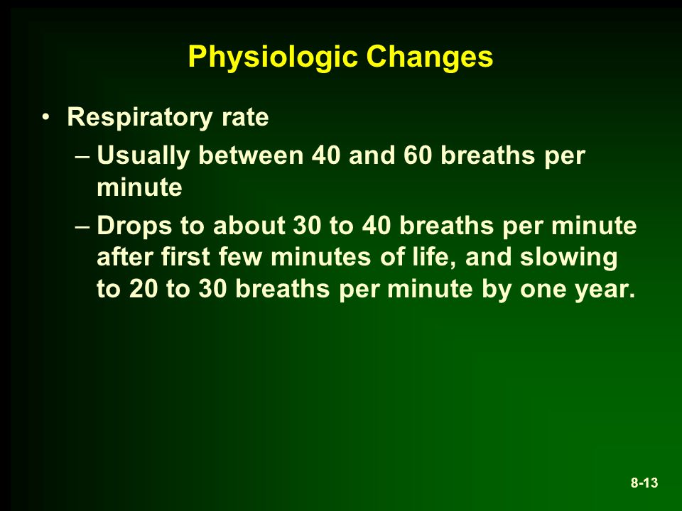 Physiologic Changes Respiratory rate