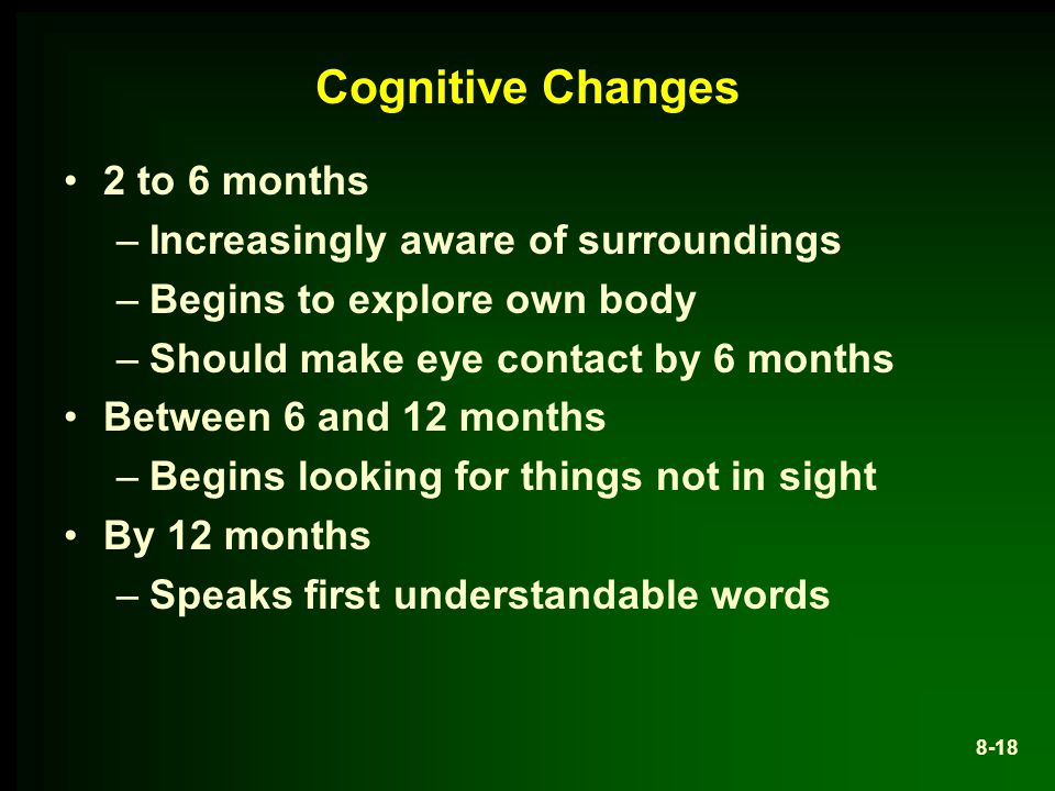 Cognitive Changes 2 to 6 months Increasingly aware of surroundings