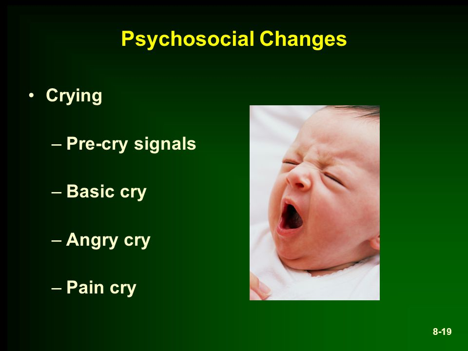 Psychosocial Changes Crying Pre-cry signals Basic cry Angry cry