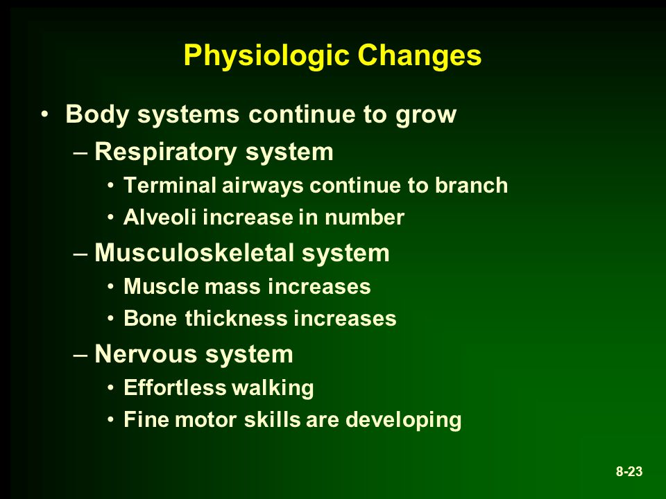 Physiologic Changes Body systems continue to grow Respiratory system