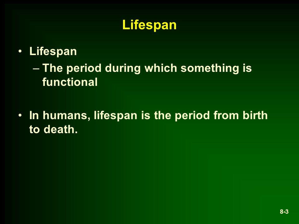 Lifespan Lifespan The period during which something is functional