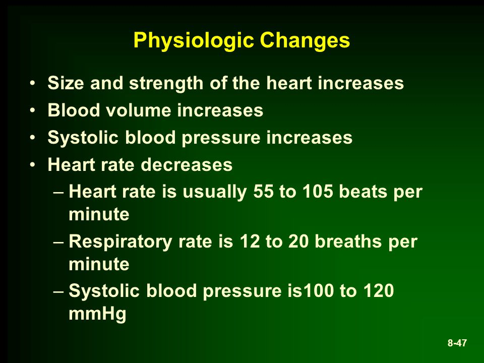 Physiologic Changes Size and strength of the heart increases