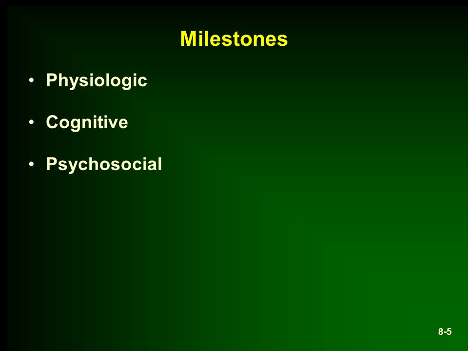 Milestones Physiologic Cognitive Psychosocial