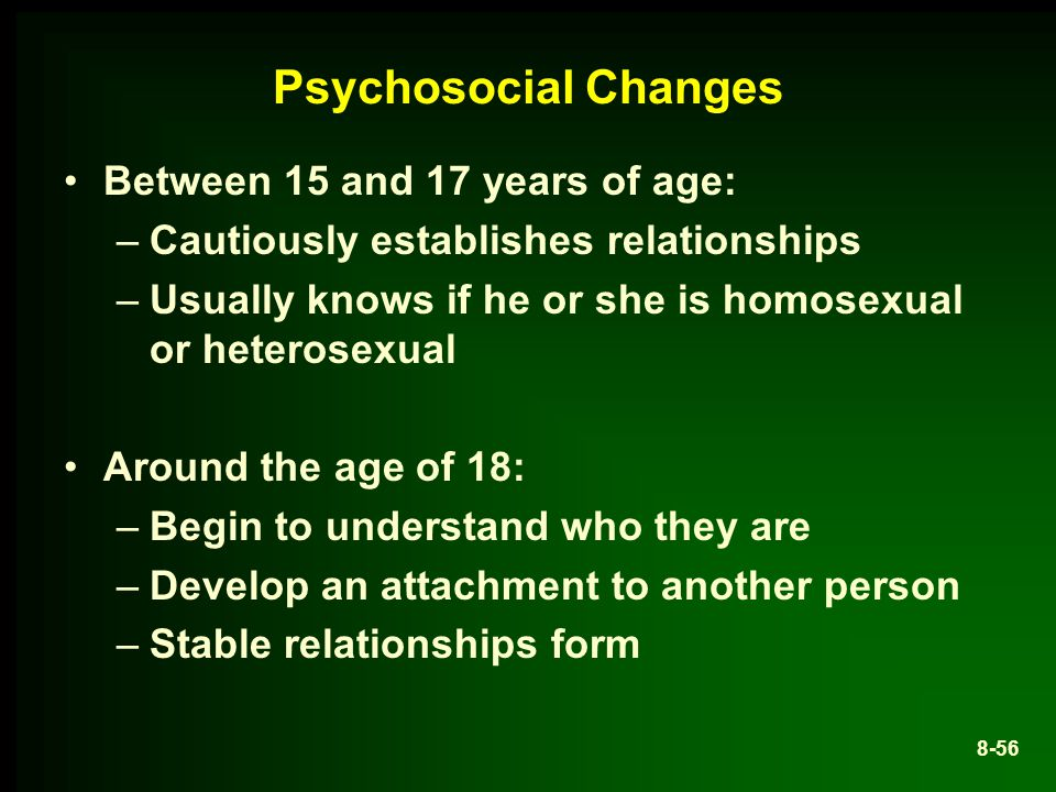 Psychosocial Changes Between 15 and 17 years of age:
