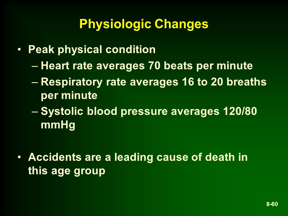 Physiologic Changes Peak physical condition