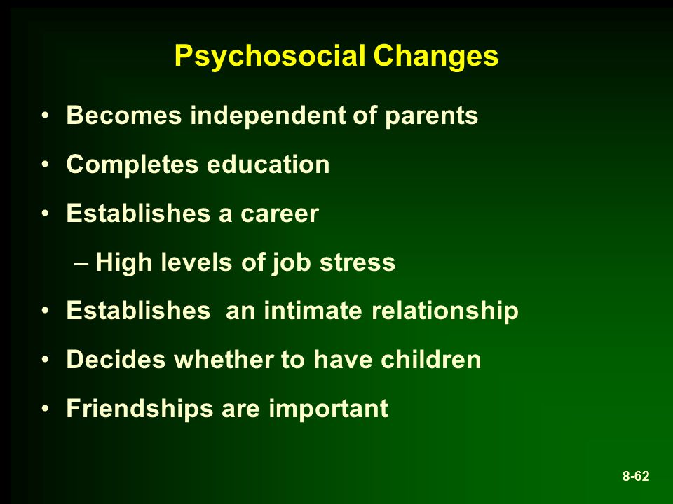Psychosocial Changes Becomes independent of parents