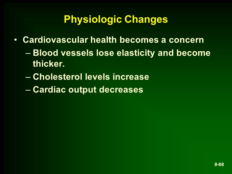 Physiologic Changes Cardiovascular health becomes a concern