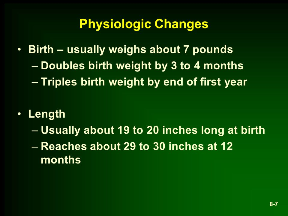 Physiologic Changes Birth – usually weighs about 7 pounds