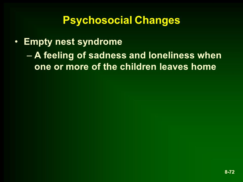 Psychosocial Changes Empty nest syndrome