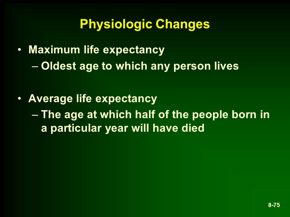 Physiologic Changes Maximum life expectancy
