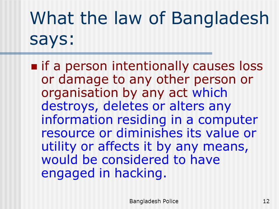 What the law of Bangladesh says: