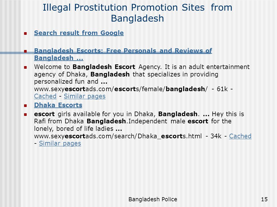 Illegal Prostitution Promotion Sites from Bangladesh