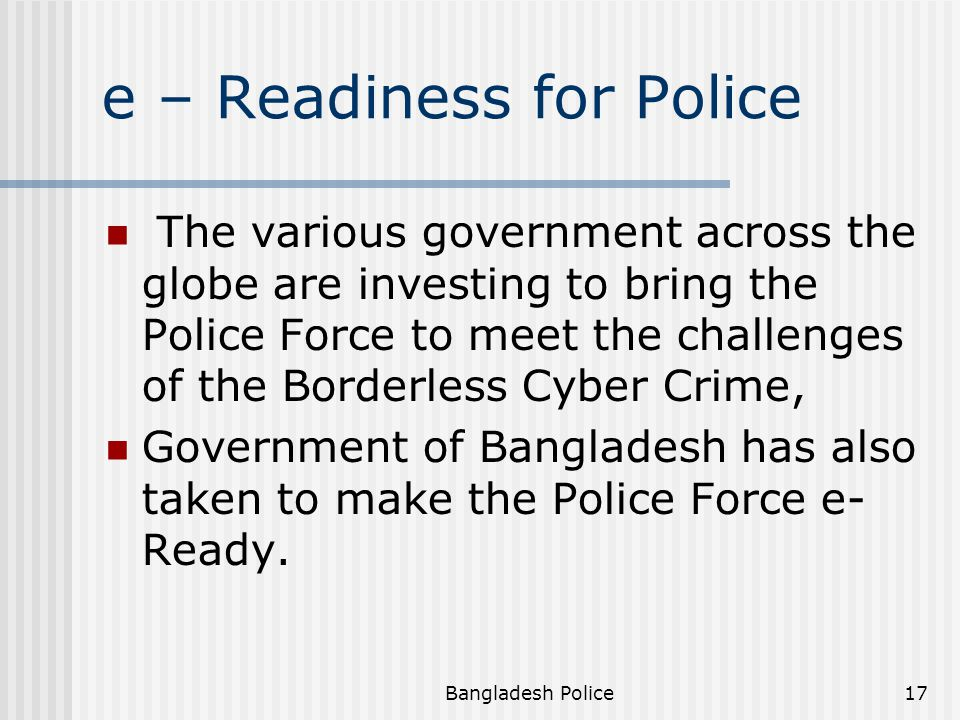 e – Readiness for Police