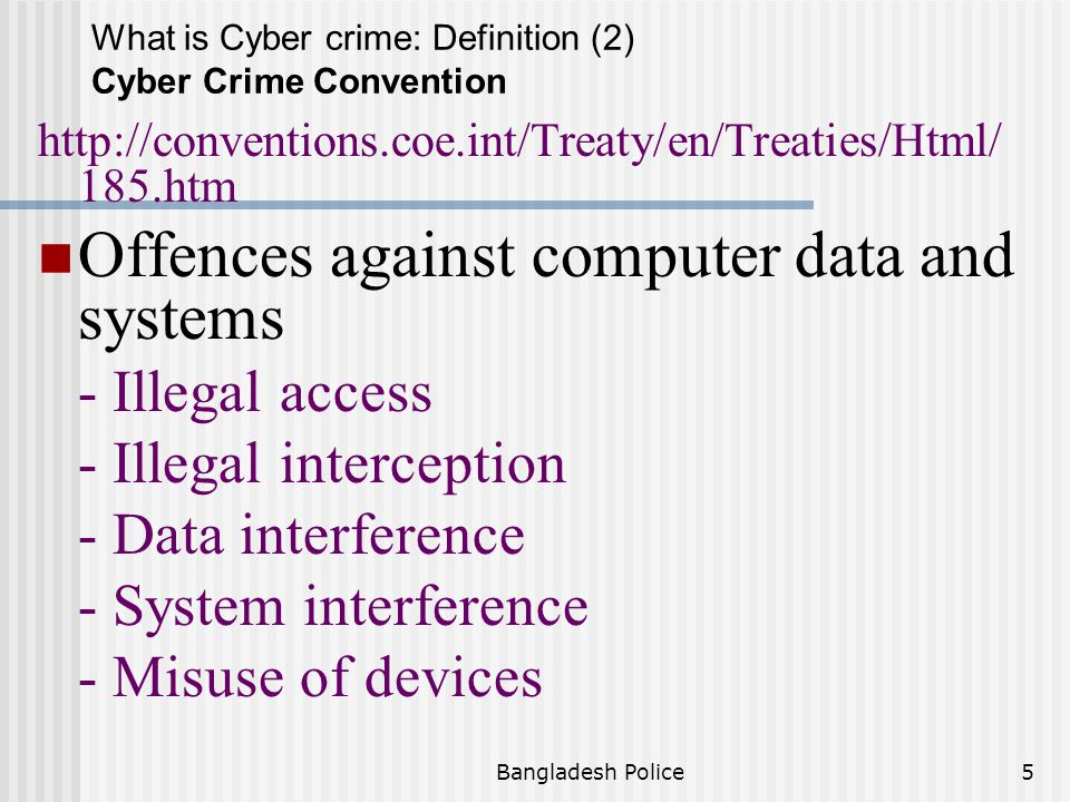 Offences against computer data and systems