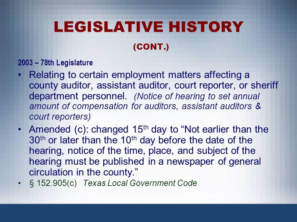 LEGISLATIVE HISTORY (CONT.)