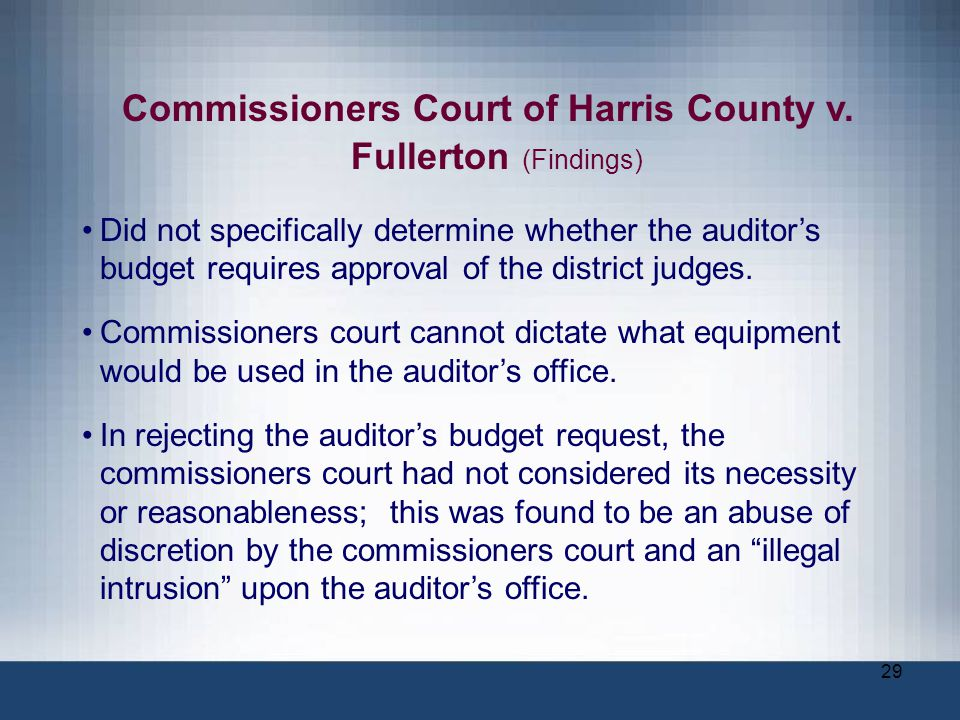 Commissioners Court of Harris County v. Fullerton (Findings)