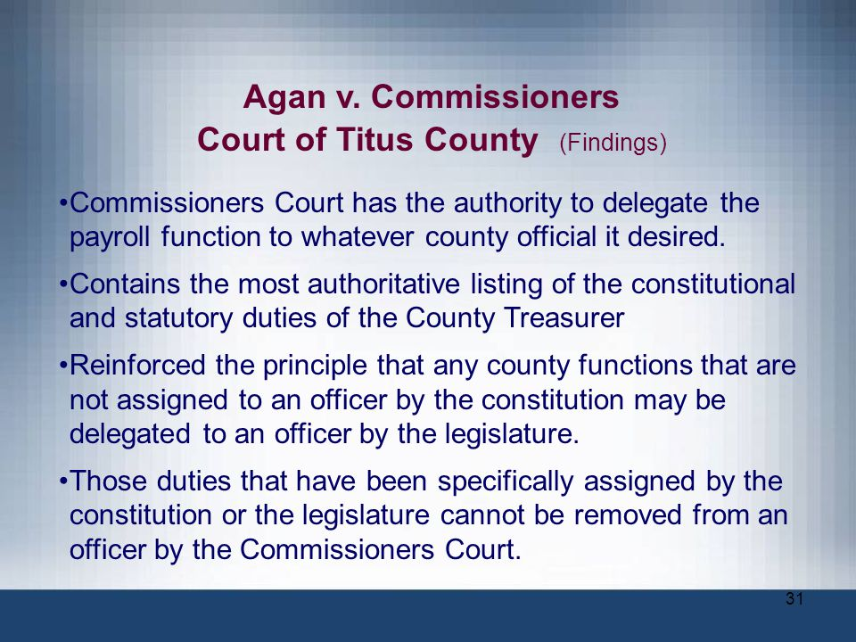Court of Titus County (Findings)