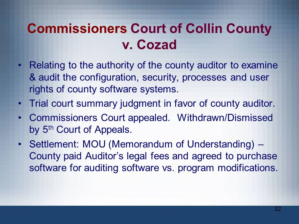 Commissioners Court of Collin County v. Cozad