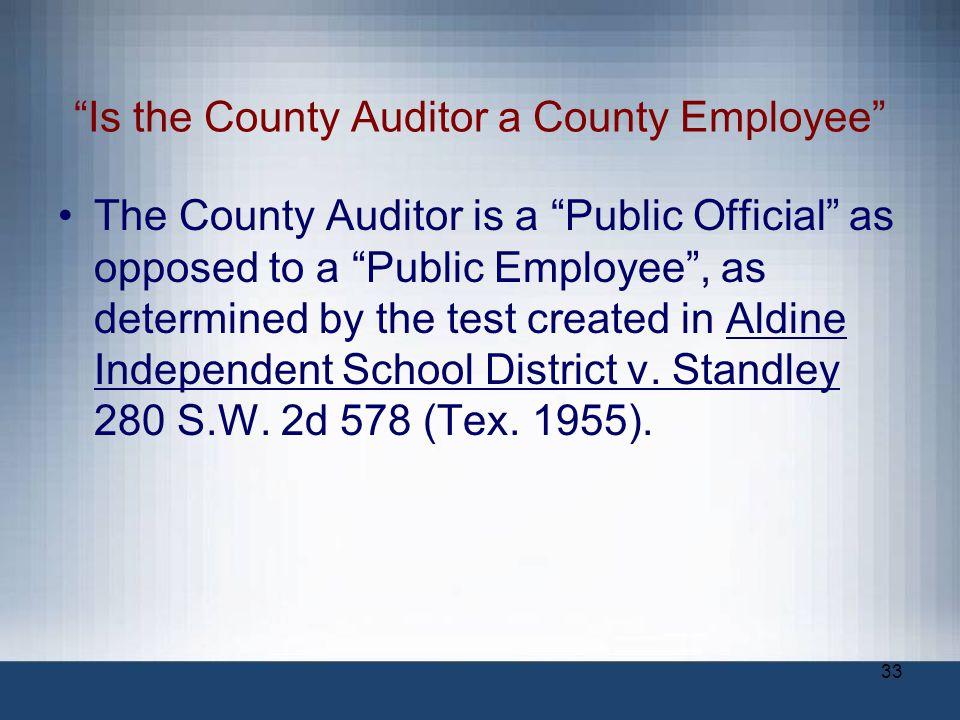 Is the County Auditor a County Employee