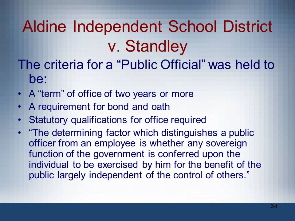 Aldine Independent School District v. Standley