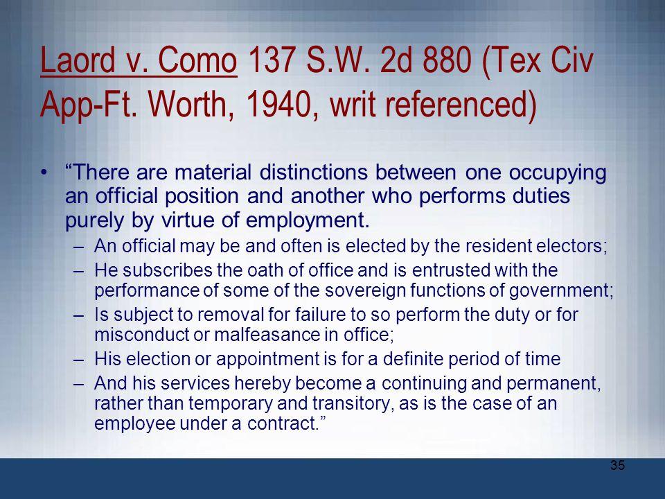 Laord v. Como 137 S. W. 2d 880 (Tex Civ App-Ft
