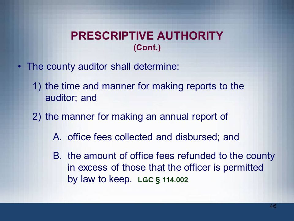 PRESCRIPTIVE AUTHORITY