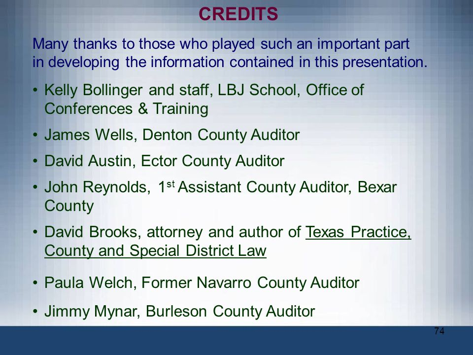 OVERVIEW OF THE AUTHORITY, DUTIES AND RESPONSIBILITIES OF THE OFFICE OF COUNTY AUDITOR