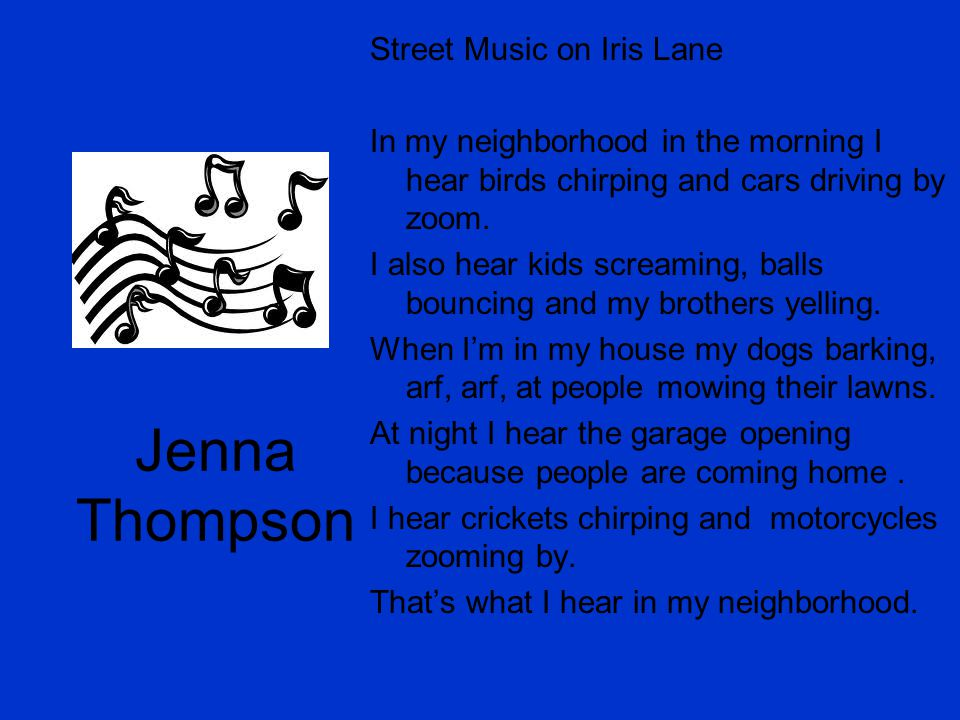 Jenna Thompson Street Music on Iris Lane