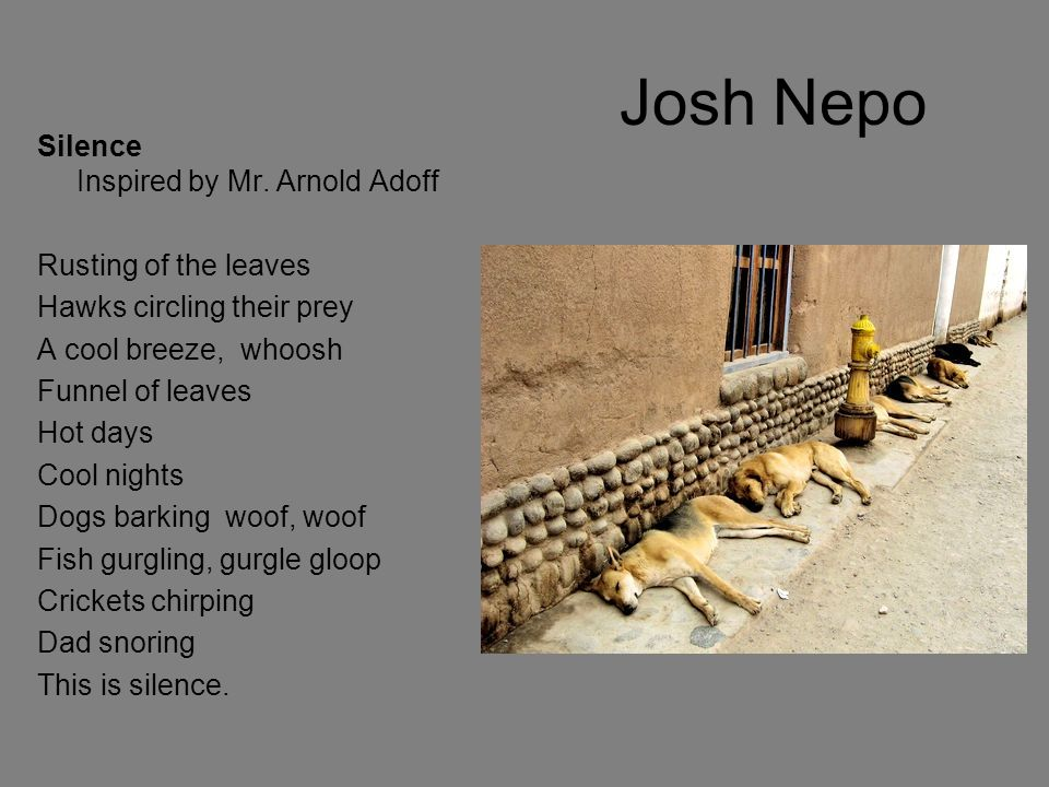 Josh Nepo Silence Inspired by Mr. Arnold Adoff Rusting of the leaves