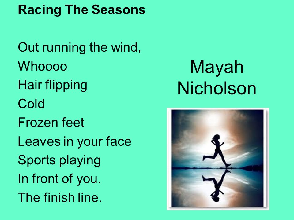 Mayah Nicholson Racing The Seasons Out running the wind, Whoooo