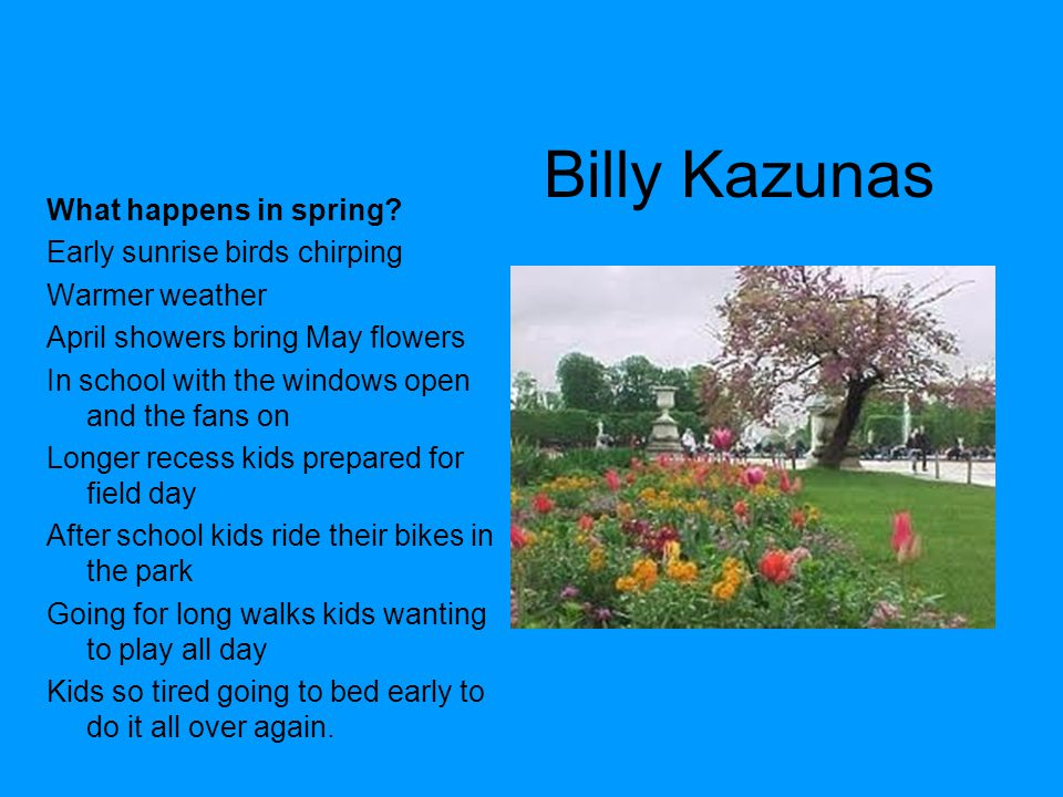 Billy Kazunas What happens in spring Early sunrise birds chirping